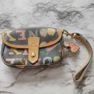 Dooney Bourke Doodle Print Coated Cotton wristlet